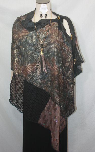 Patchwork Poncho - Black, Brown, Tan, Gold Foil Fabric