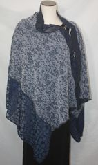 Patchwork Poncho - Navy Blue Crinkle Chiffon, Laces