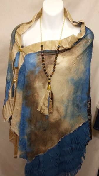 Patchwork Poncho - Blue, Brown Beige Tiedye