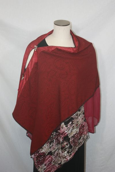 Patchwork Poncho - Burgundy Paisley Pattern, Laces, Chiffon
