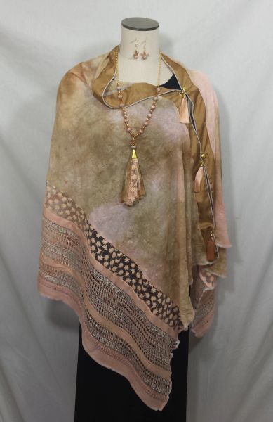 Patchwork Poncho - Peach, Tan Tiedye with Embossed Chiffon and Woven Fabric