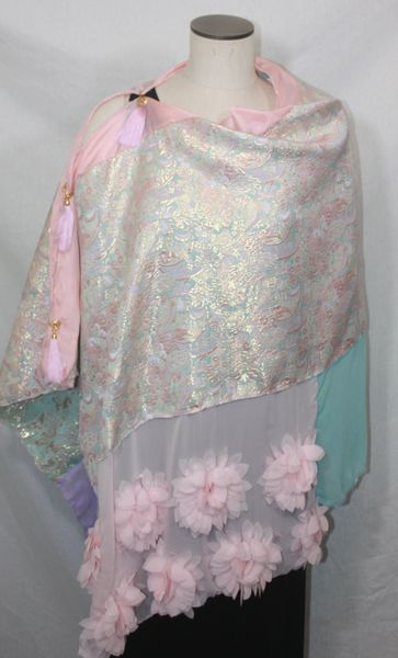 Patchwork Poncho - Pink, Mint, Lavender, Gold Brocade