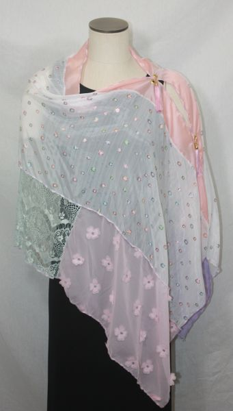 Patchwork Poncho - Pink, Mint, Lavender, Peach Embossed Chiffon