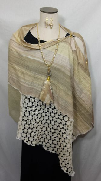 Patchwork Poncho - Beige, Butter Yellow, Cream Crinkle Rayon with Laces and Embroidered Fabric