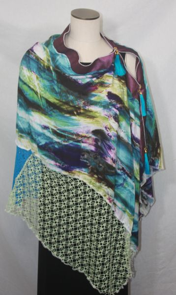 Patchwork Poncho - Turquoise, Purple, Black, Lime Rayon Print with Laces