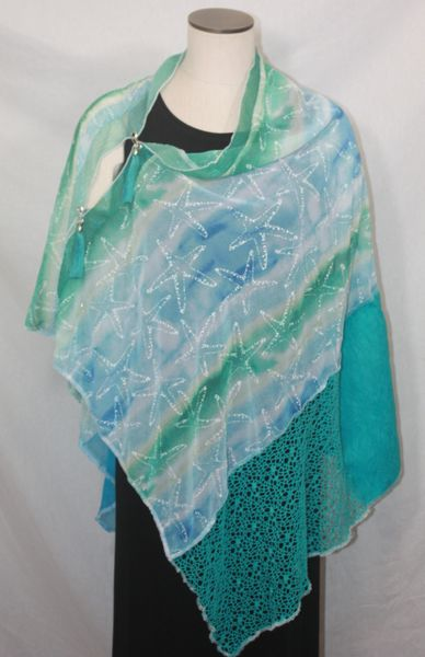 Patchwork Poncho - Blue, Sea Green, White Starfish Print Chiffon with Embossed Fabric, Laces and Halographic Chiffon