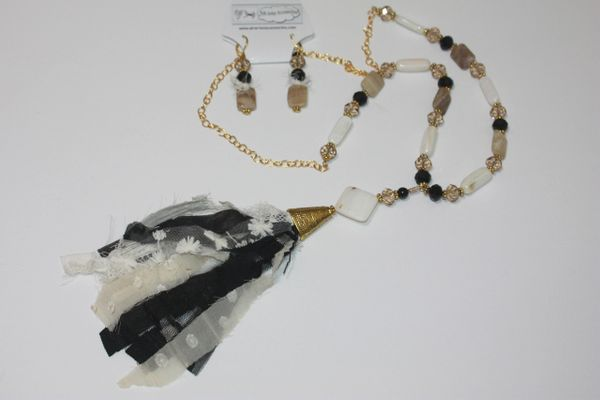 Black & Cream Tassel Stone and Gold Bead Necklace with Matching Earrings