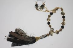 Black Stone & Brown Shell and Gold Bead Necklace with Matching Earrings