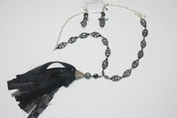 Black Crystal with Silver Bead Necklace with Matching Earrings