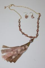 Peachy Orange & Tan Tassel Stone and Gold Bead Necklace with Matching Earrings