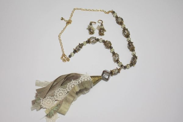 Cream & Brown Tassel and Gold Bead Necklace with Matching Earrings