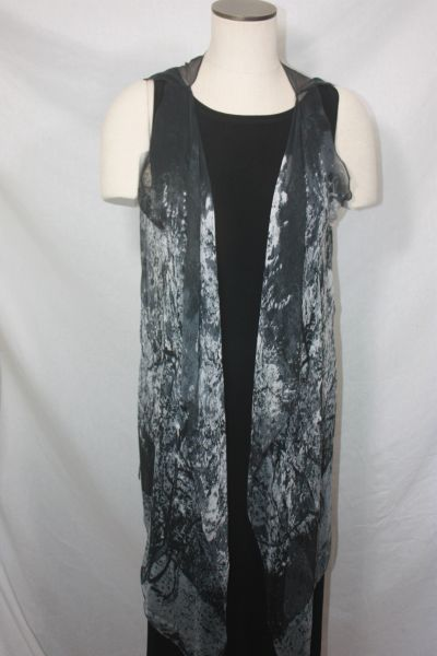 Black Polyester Chiffon Fabric 3-Panel Vest Scarf Tree Print