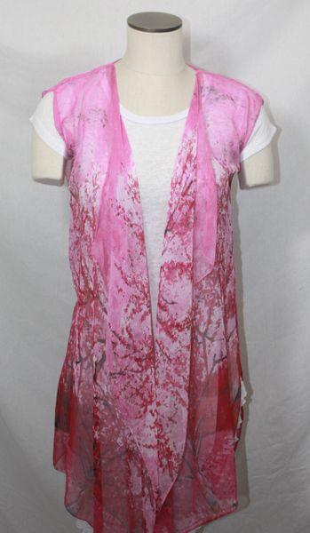 Magenta Polyester Chiffon Fabric 3-Panel Vest Scarf Tree Print