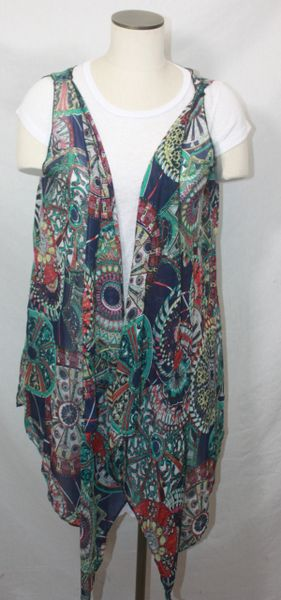 Navy Multi Color Polyester Chiffon Fabric 3-Panel Vest Scarf