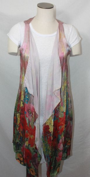 Handmade Exquisite Rose Floral Hues Silk 3-Panel Vest With Tassel Elements Can Also Be Worn a Scarf