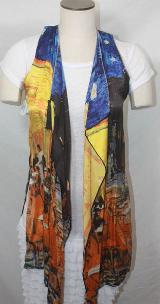 Handmade Exquisite Abstract Painting Silk 3-Panel Vest With Tassel Elements Can Also Be Worn a Scarf