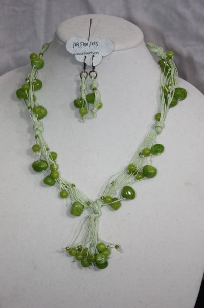 Handknotted Irish Linen Lime Green Jade Necklace/Earring Set