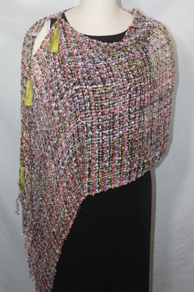 Woven Pink, Tangerine, Lime, White Vest/Poncho/Scarf with Tassel Accents
