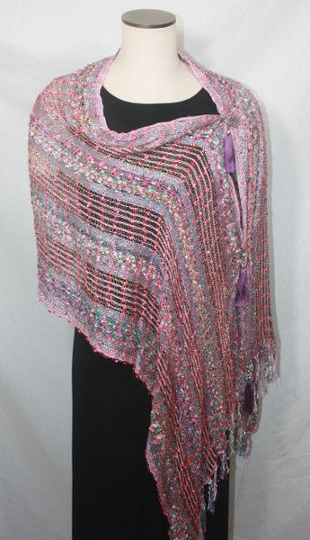 Woven Pink, Purple, Turquoise Green Vest/Poncho/Scarf with Tassel Accents