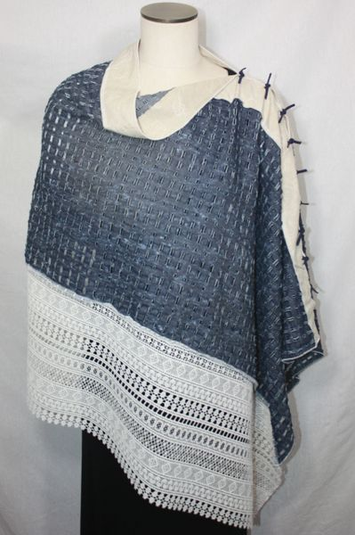 Patchwork Poncho - Distressed Denim and Lace