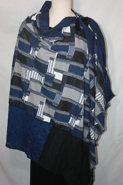 Patchwork Poncho - Denim Blue, Black and White Knit