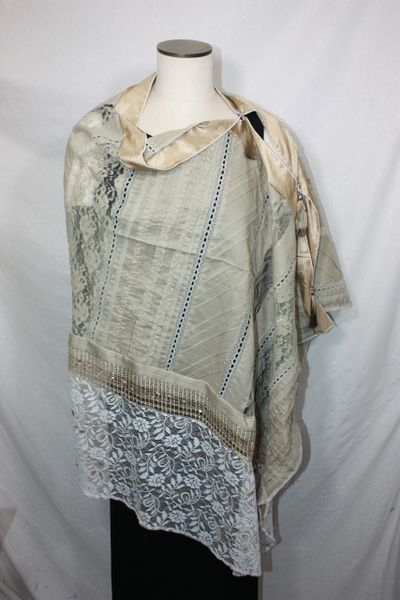 Patchwork Poncho - Camel and White Lace