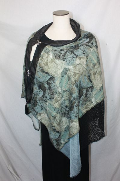 Patchwork Poncho - Sage Green, Brown, Black, Blueish-Green Fabric with Lace and Chiffon