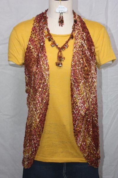 Sienna Mauve Gold Vest/Scarf