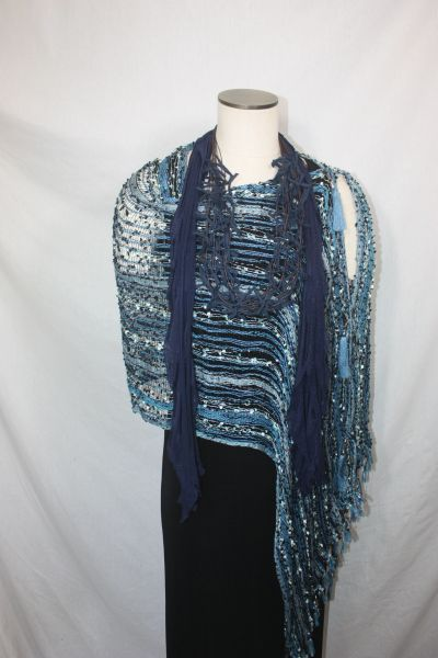 Woven Shades of Blue & Black Vest/Poncho/Scarf with Tassel Accents