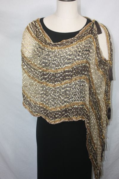 Woven Shades of Brown, Cream, Gold Vest/Poncho/Scarf with Tassel Accents