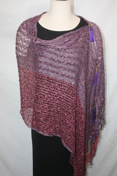 Woven Shades of Burgundy & Purple Vest/Poncho/Scarf with Tassel Accents