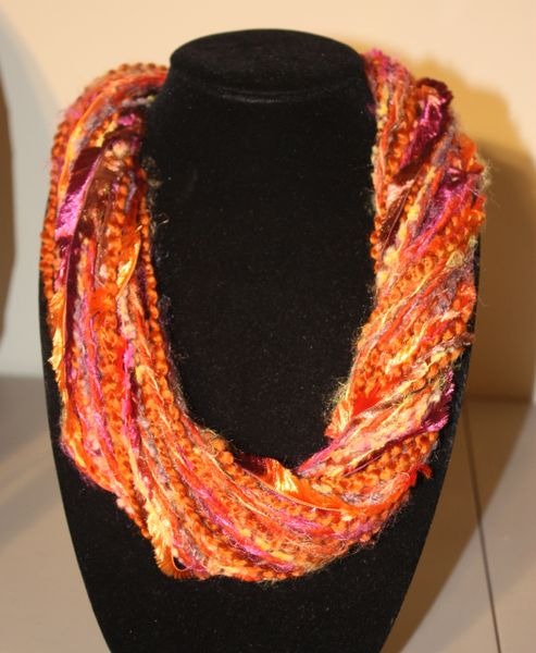 Orange/Purple Mix Yarn Necklace