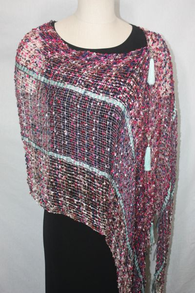 Woven Shades of Red, Blue, Magenta, Pink, Mint Vest/Poncho/Scarf with Tassel Accents