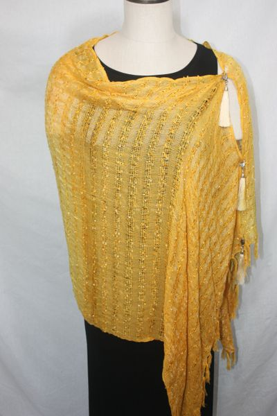 Woven Shades of Golden Yellow Vest/Poncho/Scarf with Tassel Accents
