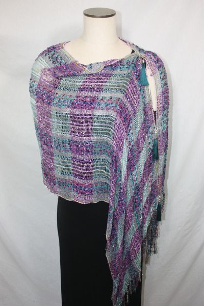 Woven Shades of Purple, Teal, Magenta Vest/Poncho/Scarf with Tassel Accents
