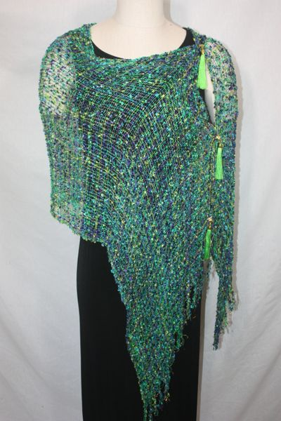 Woven Shades of Lime, Turquoise, Purple Vest/Poncho/Scarf with Tassel Accents