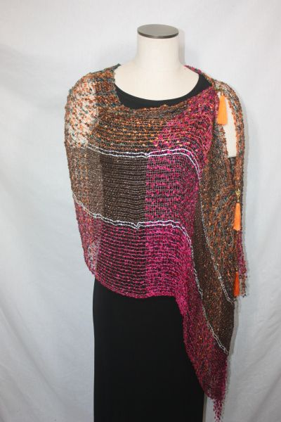 Woven Shades of Magenta, Orange, Teal, Bronze Vest/Poncho/Scarf with Tassel Accents
