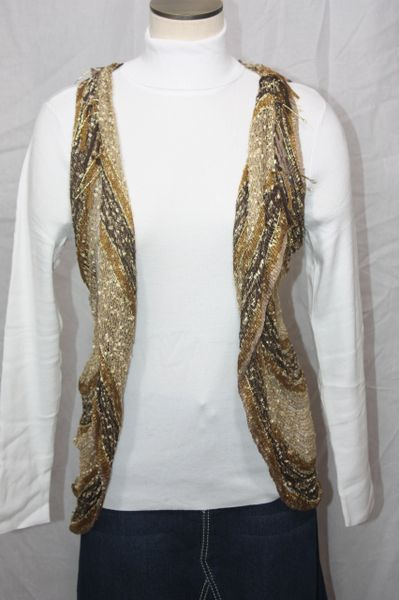 Mix Brown/Gold Woven Vest/Scarf