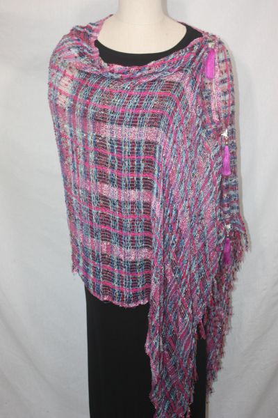 Woven Shades of Magenta, Blue, Cream Vest/Poncho/Scarf with Tassel Accents