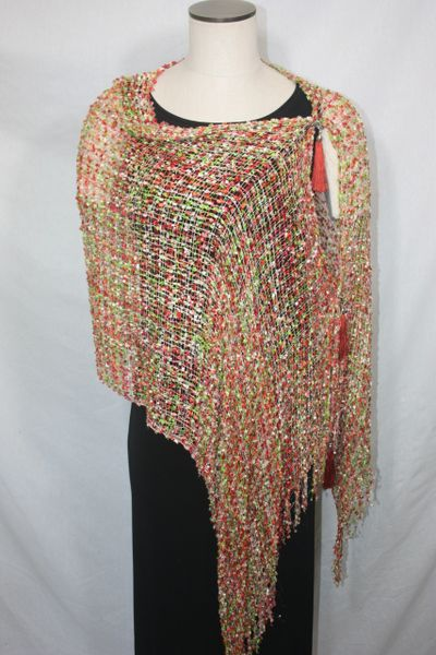 Woven Shades of Orange, White, Red, Lime Green Vest/Poncho/Scarf with Tassel Accents
