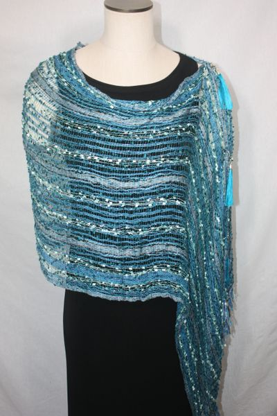 Woven Shades of Teal, Turquoise, Seafoam Green Vest/Poncho/Scarf with Tassel Accents
