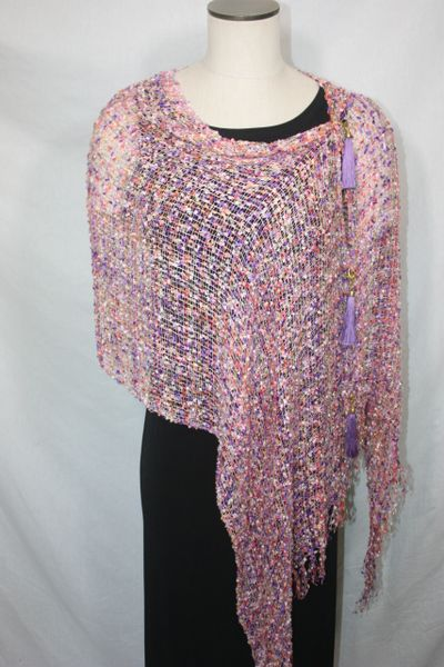 Woven Shades of Salmon, Purple, Butter Yellow Vest/Poncho/Scarf with Tassel Accents