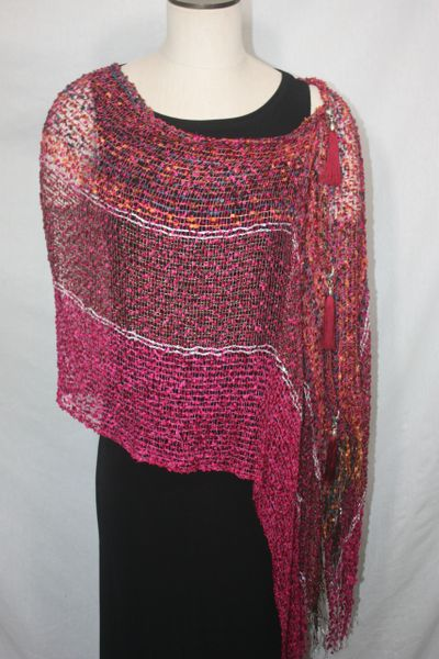 Woven Shades of Magenta, Orange, Teal, White Vest/Poncho/Scarf with Tassel Accents