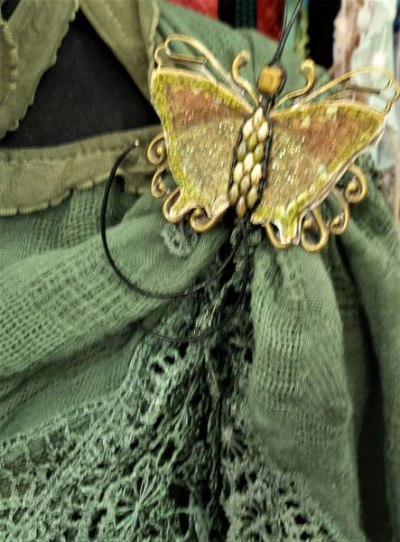 Green, Brown Pin/Pendant Handpainted Fabric with Leather Bead Ladderwrapped Body