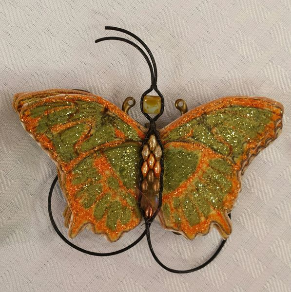 Olive Green, Orange Pin/Pendant Handpainted Fabric with Leather Bead Ladderwrapped Body
