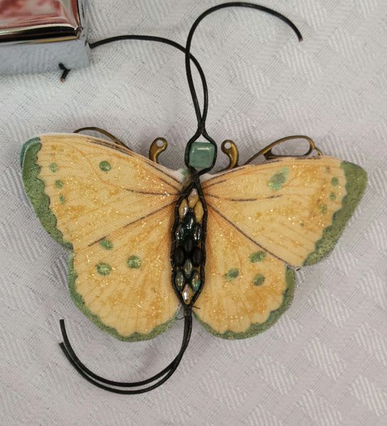 Green, Butter Yellow Pin/Pendant Handpainted Fabric with Leather Bead Ladderwrapped Body