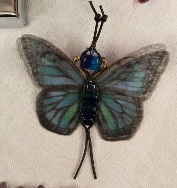 Blue, Green, Turquoise, Black Pin/Pendant Hand Designed Silk Organza with Leather Bead Ladderwrapped Body
