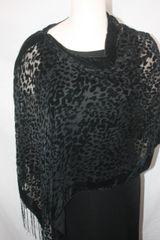 Burnout Velvet Black Leopard Print Poncho