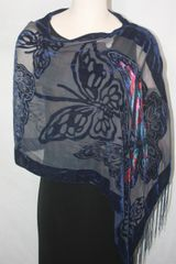 Burnout Velvet Blue Butterfly Print Poncho