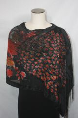 Burnout Velvet Black, Red Peacock Print Poncho